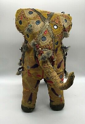 Vintage Elephant in Fabric, Beads, Embroidery, Pompons.made in India 35x48x20 CM