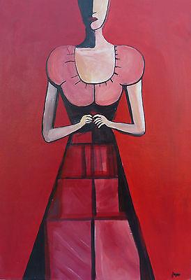 Frau in Rot Kubismus Gem�lde Dame in rotem Kleid