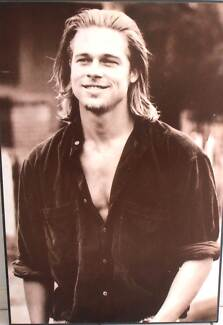 PHOTO OF BRAD PITT MOUNTED ON A BEVELED EDGED HANGING BOARD