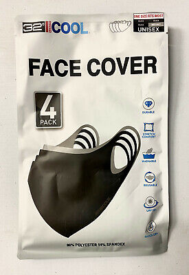 32 Degrees Cool Adult Unisex Face Cover 4-pack Durable Stretch Washable UPF 50+