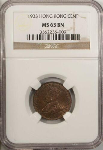 Hong Cong  Cent 1933 NGC 63 BN UNC Bronze George V