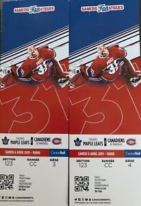 Maple leafs Vs Canadiens, Red, section 123, Row, CC, seats, 3&4.