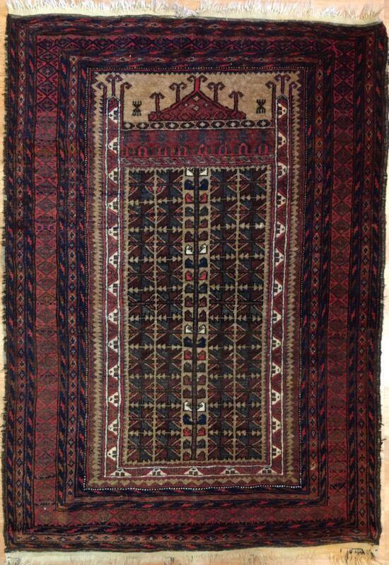 Terrific Tribal - 1940s Antique Oriental Rug - Nomadic Carpet - 3 X 5 Ft