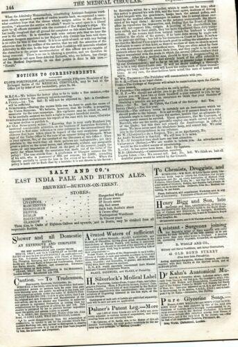 1856 SEPT17 THE MEDICAL CIRCULAR NEWSPAPER MODERN MATERIALISM DRUG ADS 12 PGS