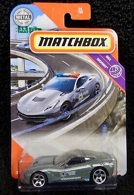 Matchbox 2020 Case V - 2015 Corvette Stingray - Trooper Police Car - Gray - NEW