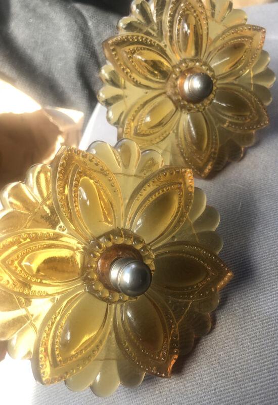 Vintage Victorian Pair Depression Amber Glass Curtain Tie Backs Antique