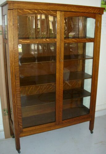 Antique Solid Tiger Quarter Sawn Oak 2 Door China Cabinet Bookcase Arts & Crafts