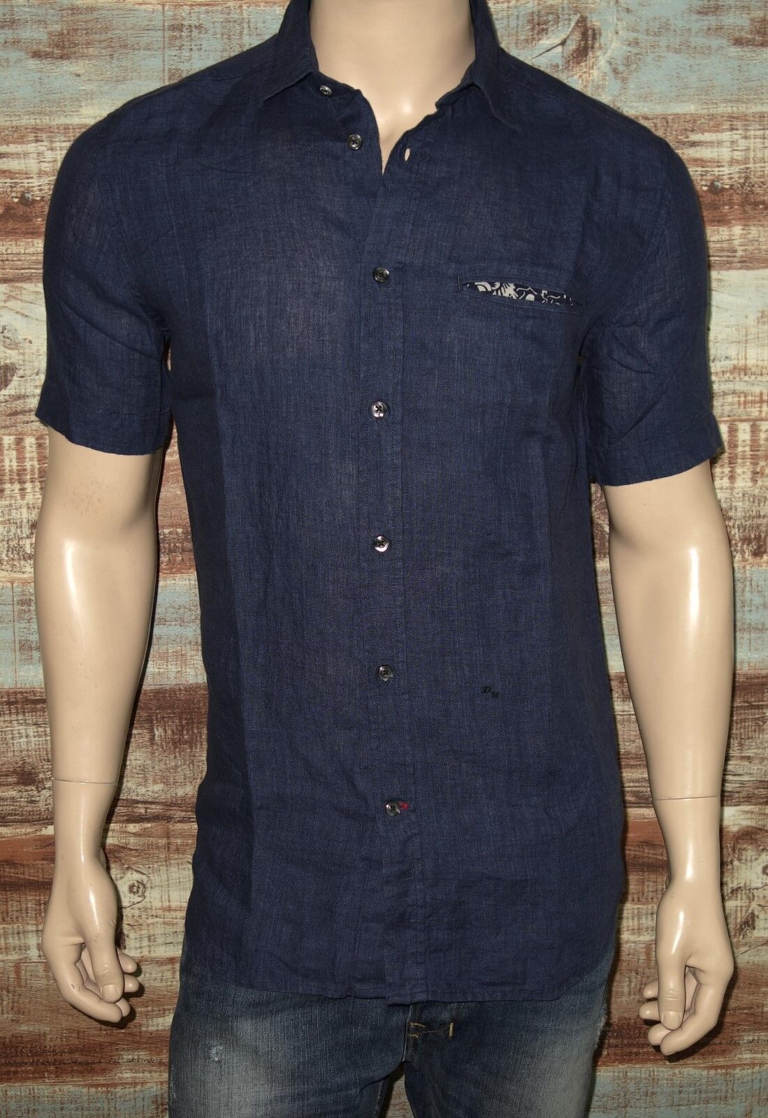a32942e4c70 NEW Diesel S-EMIKO Shirt in Navy Blue LARGE Short Sleeve 100% LINEN was   148.00