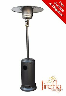 12kW Freestanding Powder Coated Steel Silver Gas Patio Heater Outdoor Heating