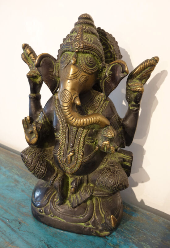 Beautiful Old Statue, Ganesha on Throne With Rat, Bronze from Nepal 5.3lbs