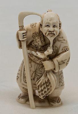 Netsuke japonais en os, 19e siècle, pièce rare