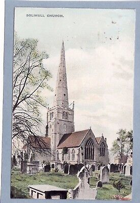 VINTAGE POSTCARD - SOLIHULL CHURCH, WARWICKSHIRE  -  Posted (King Edward VII)