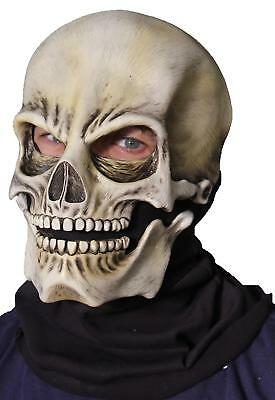 cke Totenkopf Skelett Moving Kiefer Latex Voll Maske Kostüm (Vollen Kopf Skelett Maske)