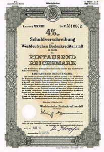 GERMANY 4% BOND of 1941 stock certificate UNCANCELLED