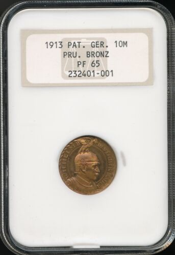 1913 Germany German States Prussia Bronze 10 Mark Proof Pattern NGC PF 65