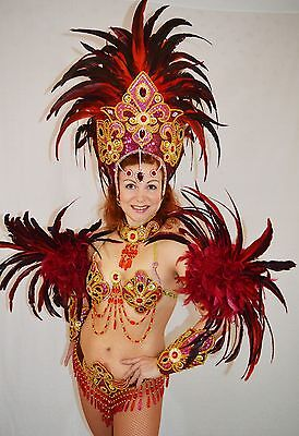 BRAZILIAN RED carnival SAMBA CABARET dance LUX COSTUME bikini/SHOWGIRL/CRYSTALS for sale  Shipping to Canada