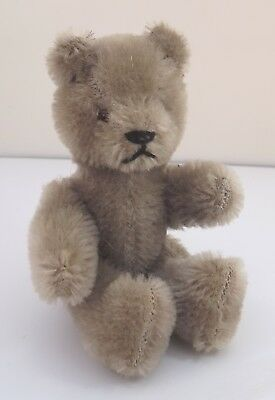 Vintage 1970s Small 14cm Jointed Grey Mohair Teddy Bear