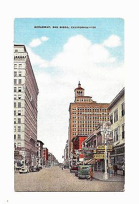 Old San Diego Ca California Linen Postcard Broadway  Nice