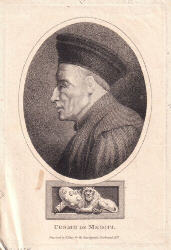 COSIMO DE MEDICI Financier and Head of the Medici family 1816 engraving