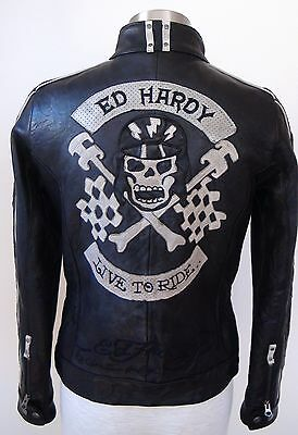 "NWOT BLACK WOMEN RARE ED HARDY LEATHER JACKET ""LIVE TO RIDE"" MOTO SIZE SMALL"
