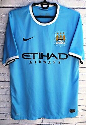 MANCHESTER CITY 2013/2014 HOME SOCCER FOOTBALL SHIRT JERSEY NIKE MAGLIA SIZE M image