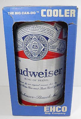 VINTAGE NEW BUDWEISER BEER CAN COOLER STEEL w/ROPE HANDLES MADE IN USA