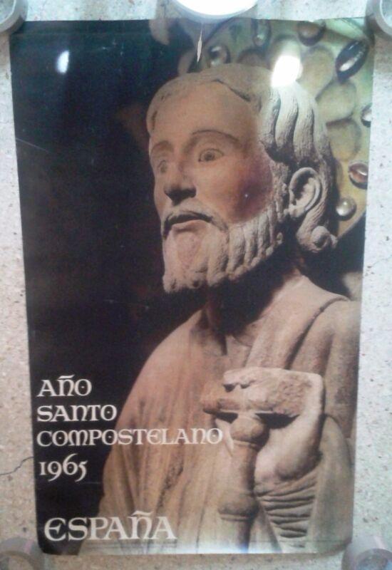 Vintage travel poster Spain Jacobean Holy Year Santiago de Compostela 1965
