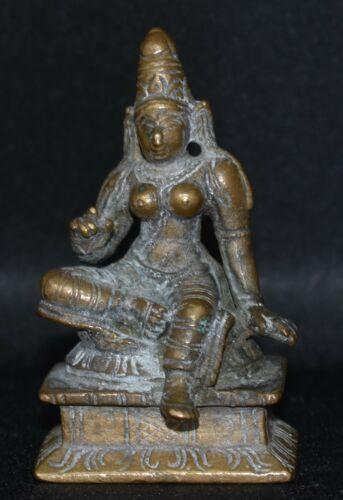 Indian miniature bronze seated Uma Siva