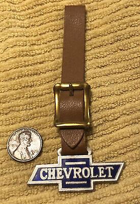 Vintage Chevy Bowtie Metal & Enamel Pocket Watch Fob w/Strap Chevrolet Fob
