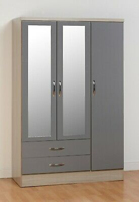 NEVADA LIGHT OAK & GREY GLOSS 3 DOOR 2 DRAWER MIRRORED WARDROBE