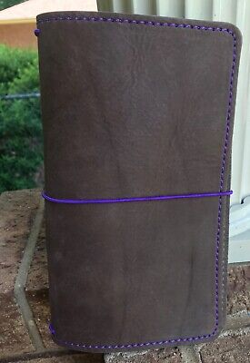 Leather Quille Planner Travelers Notebook Standard Brown Purple Stitching New