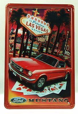 USA Fabulous Las Vegas 'Ford Mustang' Metal Tin Sign 30x20cm - 150 gr - NEW