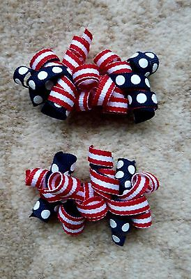 Gymboree Girls Hair Clips x 2 (Red and Navy Blue with White Spots), Brand New