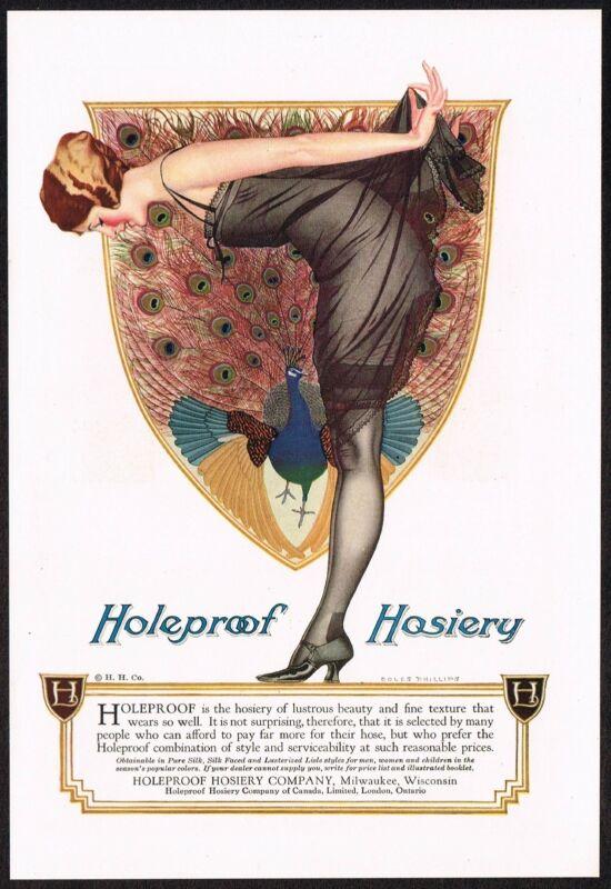1920s Vintage Holeproof Hosiery Stockings Coles Phillips Peacock Art Print Ad