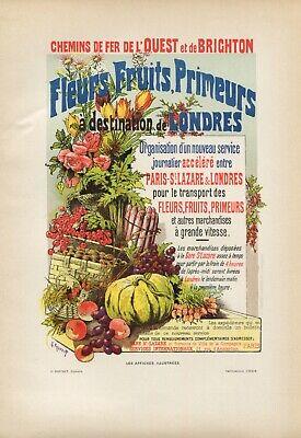 DESTINATION LONDRES, Vintage French Railway Poster Lithograph, Paris 1896