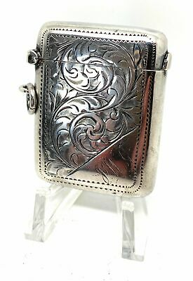 1900 Solid Silver Vesta Case by W.V & S for Albert Chain
