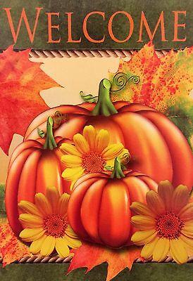 "Fall Pumpkins & Sunflowers Welcome Decorative House Flag 28""X40"" Designer Flag"