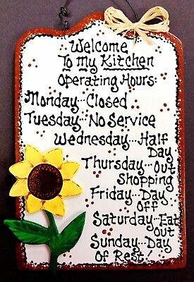 SUNFLOWER Kitchen Operating Hours SIGN Wall Art Hanger Plaque Country Wood Decor