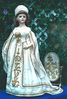 """16-17""""ANTIQUE/MODERN ARTIST LADY DOLL@1830's FRENCH COURT GOWN/DRESS&HAT PATTERN"""