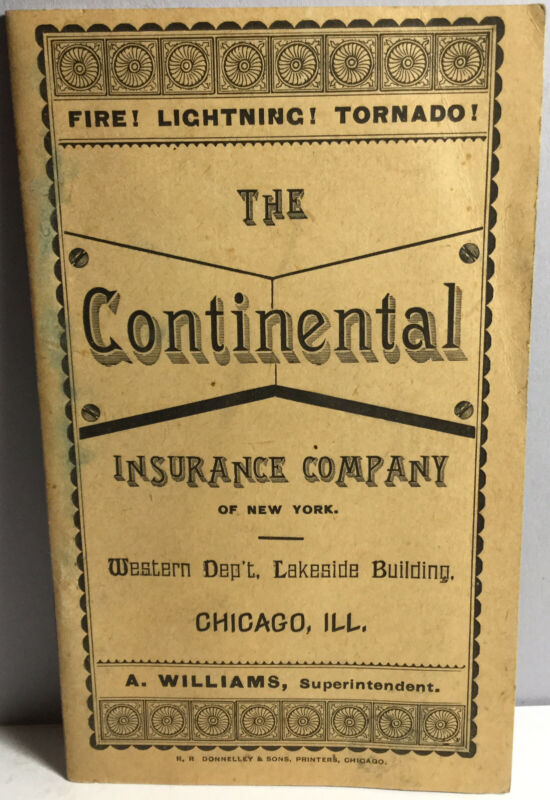 1884 CALENDAR POCKET BOOKLET FROM THE CONTINENTAL INSURANCE CO OF NEW YORK UNUSE