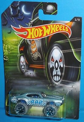 2017 HOT WHEELS Halloween Olds 442 W-30 Monster Car Style #2/8 Blue NEW HTF](Old Fashion Halloween 2017)