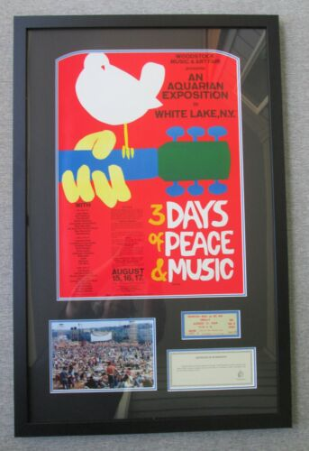Original 1969 Woodstock Music & Art Fair Poster & Ticket, over 50 Years Old!