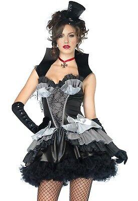 ADULT HALLOWEEN COSTUME SIZE SMALL QUEEN OF DARKNESS ELVIRA VAMPIRE SPIDER WEB ](Halloween Costume Spider Queen)