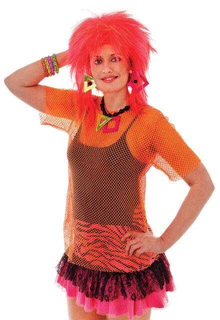Ladies 80s Orange Clubbing Rave Neon Fishnet Mesh Top Shirt Fancy Dress Costume