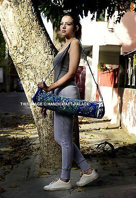 Indio Mandala Estampado Estera Yoga Bolsa de Kit Gimnasio Hippie Deporte Azul