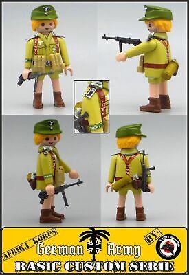 Playmobil Custom WW2 AFRIKA K SARGENTO SOLDADO EJERCITO ALEMAN 2 Guerra Mundial