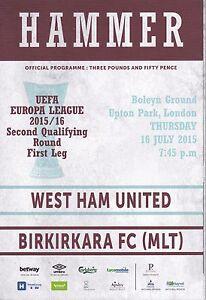 WEST HAM UNITED v BIRKIRKARA EUROPA LEAGUE 16/7/15 (2015/16)