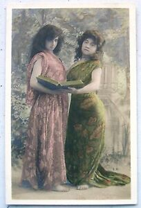 WOMEN with PHOTO Album RPPC French Postcard Tinted
