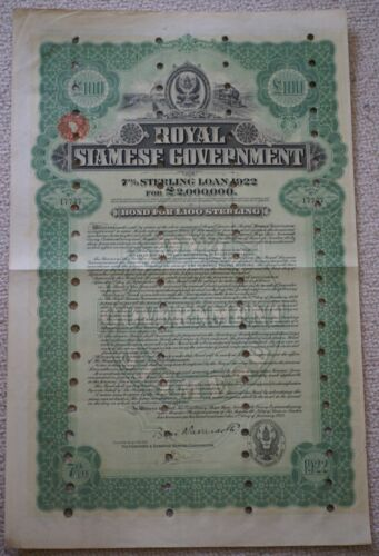 Rare 1922 Royal Siamese Government £100 bond signed by Hongkong Shanghai Bank