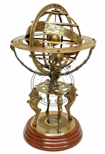 """18"""" Nautical Brass Sphere Engraved Armillary Antique Vintage Astrolabe Compass"""